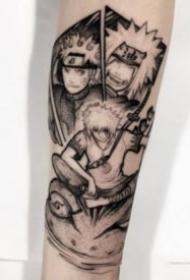 动漫火影忍者的一组纪念纹身图案18张