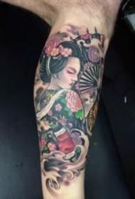 包大臂的一组日本艺妓纹身图案