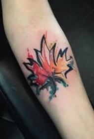 精致的一组漂亮枫叶纹身图片