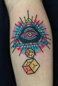 一组几何图形和眼睛组合的纹身图片