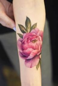 一组漂亮的艳丽花朵花卉纹身图片