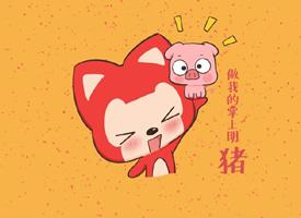 一组可爱的阿狸新春红色背景壁纸