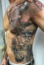 男性帅气的传统半身纹身作品图案
