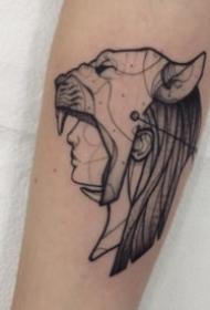 黑灰抽象风格的个性人头纹身图