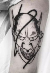 日本风格的般若等人脸纹身作品