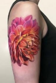 红色newschool风格的花朵纹身图案