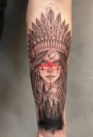 包臂的9张印第安风格女郎纹身作品图案