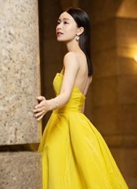 文咏珊穿黄色抹胸礼服图片欣赏