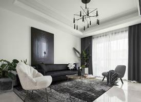 128㎡现代简约风三居室,干净舒适的黑白调