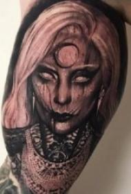 纹身图人物图片    恐怖的暗黑色色调人物纹身图案