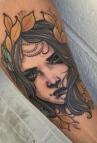 school纹身人物   面容真切而又形象的school人物纹身图案