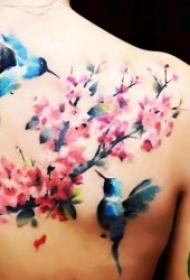 鸟纹身图案 身体各部位鸟和花朵搭配的鸟纹身图案