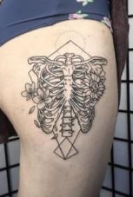 骨头纹身图案   9张技巧多样的骨头纹身图案