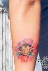 向日葵纹身图案 绽放中的或黑灰或彩绘的向日葵纹身图案