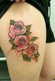 玫瑰纹身图  艳丽而又娇艳醉人的玫瑰花纹身图案