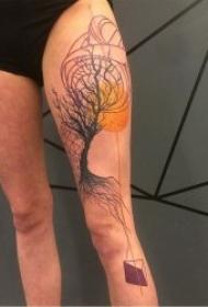 抽象纹身图案 一组黑灰色与彩色搭配抽象纹身创意图案