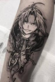 手臂上黑色的一组动漫人物角色纹身图片