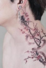 纹身梅花图 一组玫瑰等传统小清新花卉纹身图片