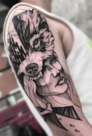 点线纹身 几何线条硬朗风格的9张黑灰纹身图片