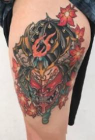 日式school纹身 传统的彩色日式小school纹身图案