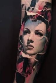欧美人像纹身 9张欧美写实风格的女郎人物纹身图片