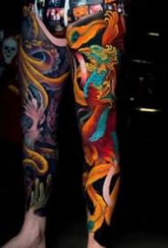 新传统风格的一组花臂花腿纹身欣赏