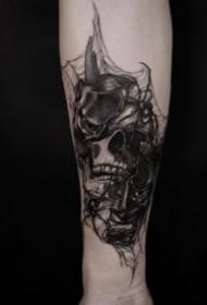 暗黑纹身骷髅 9张暗黑风格的骷髅主题纹身图片