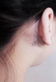 耳根纹身 耳朵后面超简单不显眼的一组小纹身图