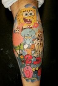 动画纹身图片  充满童年趣味的海绵宝宝纹身图案