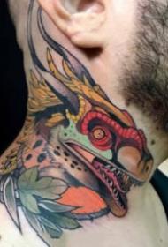 脖子纹身图 9组newschool风格的的炫彩颈部纹身作品图片
