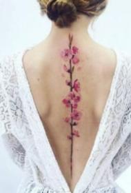 脊椎纹身 女生后背脊柱处唯美感觉的纹身图片