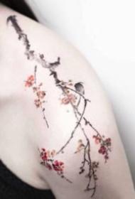 小清新肩花纹身 女生肩部的一组小清新花朵纹身图片