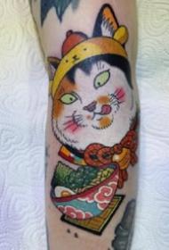 日式传统风格的老鼠和猫等彩色纹身图