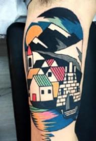 抽象几何纹身 拼接风格的一组抽象彩色几何纹身图片