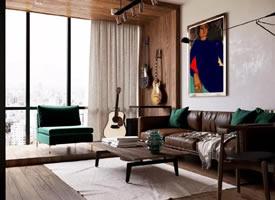 翡翠绿+棕,50m²小公寓小夫妻的家