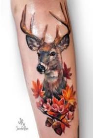 好看的一组9张小鹿头主题刺青纹身图片