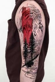 黑灰+红色的一组创意纹身设计图片