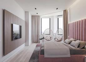 简约设计的LOFT,大胆运用粉色和绿色,个性有腔调