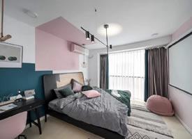 一组粉色少女心公寓装修效果图