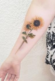 向日葵纹身:小清新的9张向日葵纹身图片