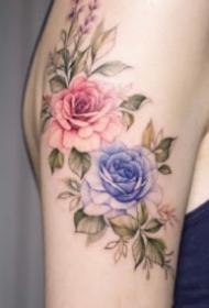 漂亮的一组9张彩色飞针花朵纹身图案