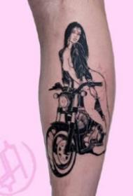 黑灰风格的日式sm风格的女郎纹身手稿图