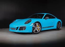 一组蓝色2018 Porsche 911 T图片欣赏