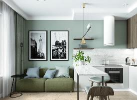 65平绿色北欧风,清爽感结合文艺家具,丝毫不拥挤