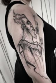散点纹身 15款超帅的大臂位置的散点纹身图案