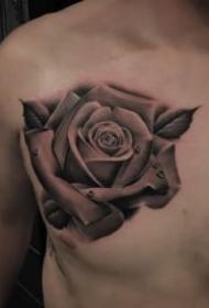9款黑灰写实的逼真玫瑰花纹身图案