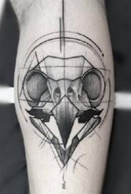一组帅气的素描黑灰纹身图案参考