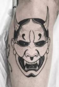 18款日式风格的般若等鬼怪面具纹身图案