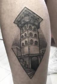 9组黑灰色的建筑纹身作品图片