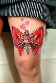 蝴蝶结纹身 9张漂亮的女生双腿蝴蝶结纹身图案